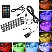 AveyLum Car LED Strip Lights USB 5V 4pcs 48 LEDs Auto Interior Music Sync Underdash Lighting Kit RGB Multicolor 5050 SMD LED Tape Light with Wireless Remote Control for Truck Van Lorry Jeep Motorcycle