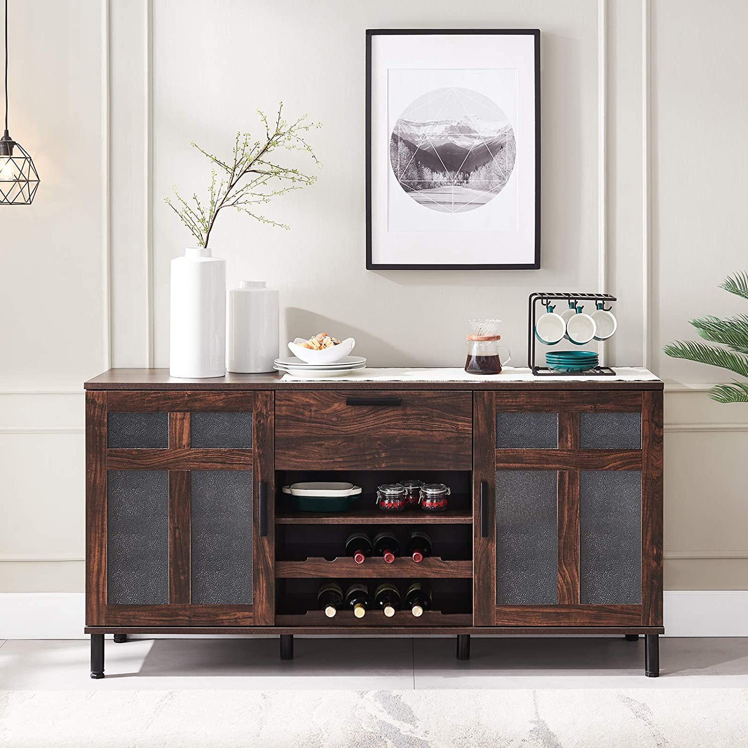 Clack Kitchen Sideboard, Dining Room Buffet Table With Wine Rack