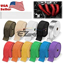 2 x 50 Black Pandure Titanium Lava Fiber,Exhaust Heat Wrap,Exhaust Header Wrap,Kit for Motorcycle with Stainless Ties