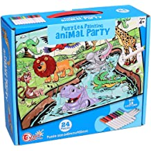 Child Game Decompression Leisure Entertainment Childrens Gifts Jigsaw Puzzles for Kids Come with 12 Coloring Markers Great Girl Gift Fun Creative Toys /& Art Set Animal Ingooood