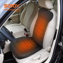 Black SJ190R007 Sojoy Universal 12V Heated Smart Multifunctional Car Seat Heater Heated Cushion Warmer Heated Rear Seat Cushion,Three Seats are Heat High//Low Temp Switch 45 Minute Timer Leather