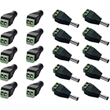 DAYKIT 10 Pairs 12V Male+Female 2.1x5.5MM DC Power Jack Plug Adapter Connector for CCTV Camera