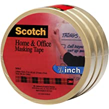 Pack of 12 3M Scotch 2050 Greener Crepe Paper Performance Painting Masking Tape 60 yds Length x 3//4 Width Tan