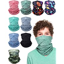 2 Pack Kids Neck Gaiter Bandanas Face Cover Scarf for Kids Adjustable Anti Dust Bandanas for Hot Summer Sun Protection 3-13 Years