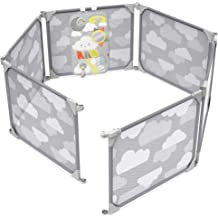 Gray Cloud Castle Foldable Playpen 4-Panel Extension by Fortella