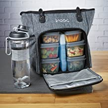Fit /& Fresh JAXX FitPak Deluxe Meal Prep Bag with Portion Control Container Set